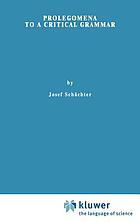 Prolegomena to a critical grammar
