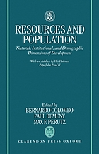 Resources and population : natural, institutional, and demographic dimsensions of development