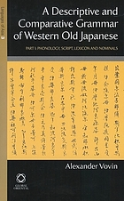 A descriptive and comparative grammar of Western Old Japanese