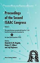 Proceedings of the Second ISAAC Congress : [held during August 1999 at Fukuoka Institute of Technology, Fukuoka, Japan]