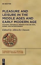 Pleasure and leisure in the Middle Ages and Early Modern Age : cultural-historical perspectives on toys, games, and entertainment