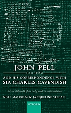 John Pell (1611-1685) and His Correspondence with Sir Charles Cavendish : the Mental World of an Early Modern Mathematician.