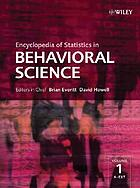 Encyclopedia of statistics in behavioral science