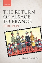 The return of Alsace to France, 1918-1939