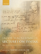 Lectures on syntax : with special reference to Greek, Latin, and Germanic