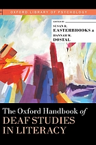 Book cover for The Oxford handbook of deaf studies in literacy.