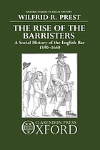 The rise of the barristers : a social history of the English bar, 1590-1640
