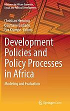Development policies and policy processes in Africa : modeling and evaluation