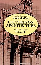 Lectures on architecture : Volume I