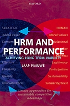HRM and performance : achieving long-term viability