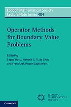 Operator methods for boundary value problems