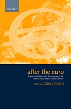 After the euro : shaping institutions for governance in the wake of European Monetary Union