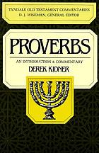 The Proverbs : an introduction and commentary