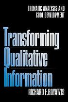 Transforming qualitative information : thematic analysis and code development
