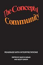 The concept of community : readings with interpretations