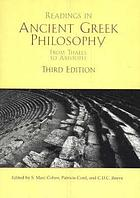 Readings in ancient Greek philosophy : from Thales to Aristotle